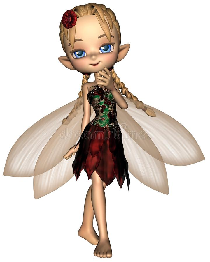 Cute Toon Fairy in Green and Red Flower Dress stock illustration