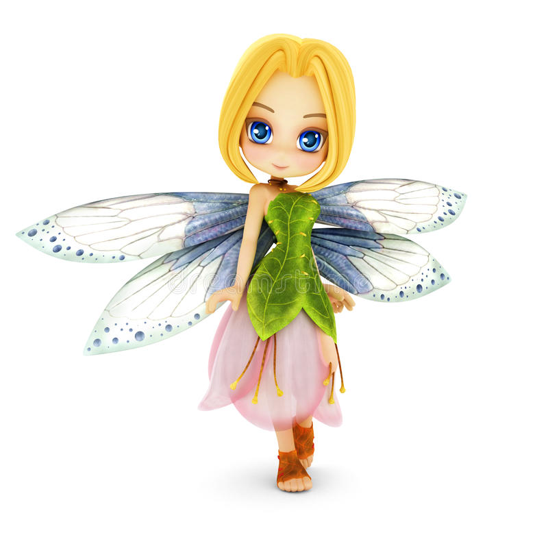 Cute toon fairy with wings smiling on a white background. royalty free illustration