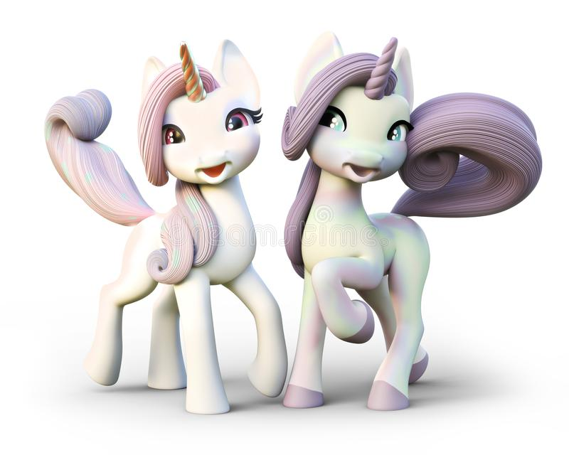 Cute toon fantasy unicorn`s on an isolated white background. stock illustration