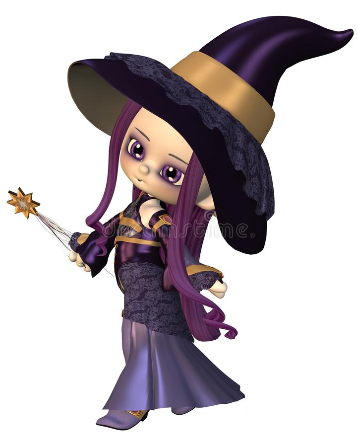 Download Cute Toon Female Wizard stock illustration. Illustration of render - 24940526