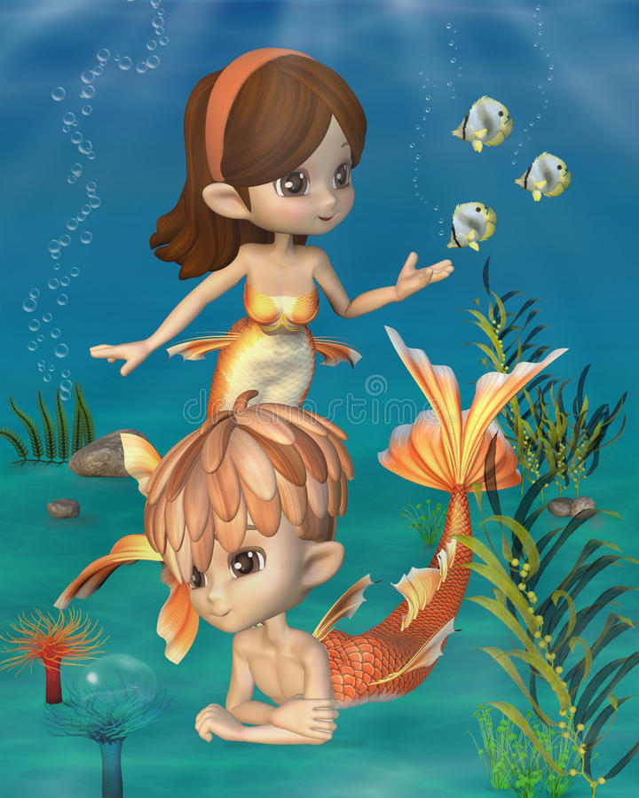 Cute Toon Goldfish Merpeople Scene Stock Photos