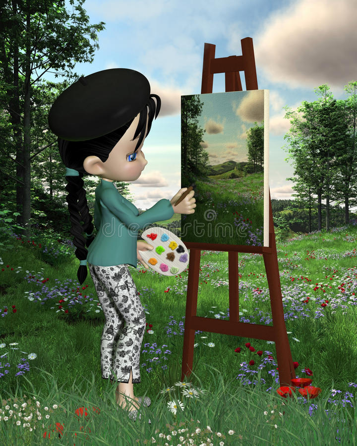 Cute Toon Landscape Artist Girl stock illustration