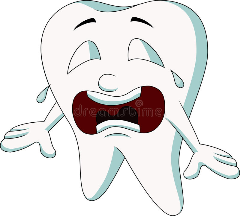 Cute tooth cartoon crying royalty free illustration