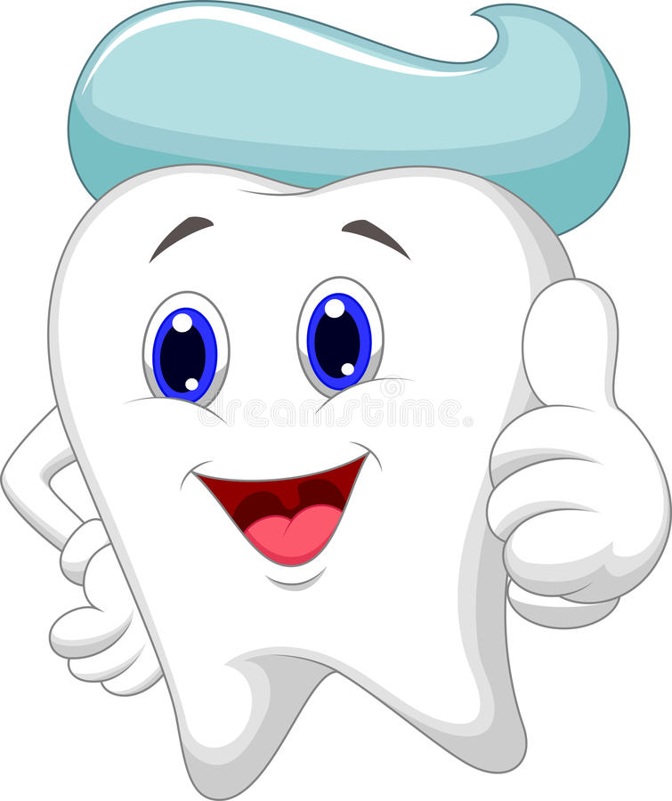 Cute tooth cartoon giving a thumb up stock illustration