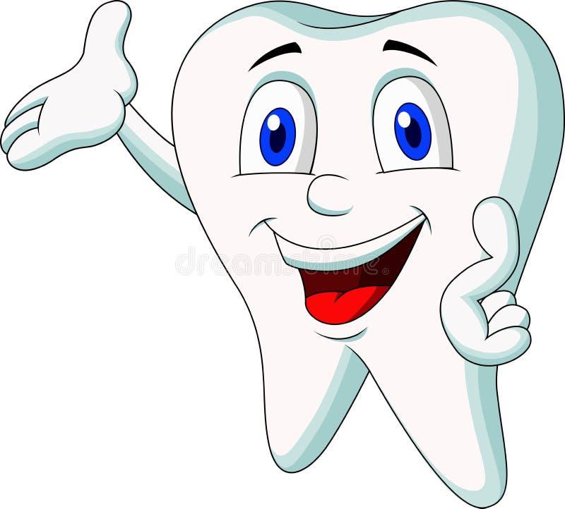 Cute tooth cartoon presenting vector illustration