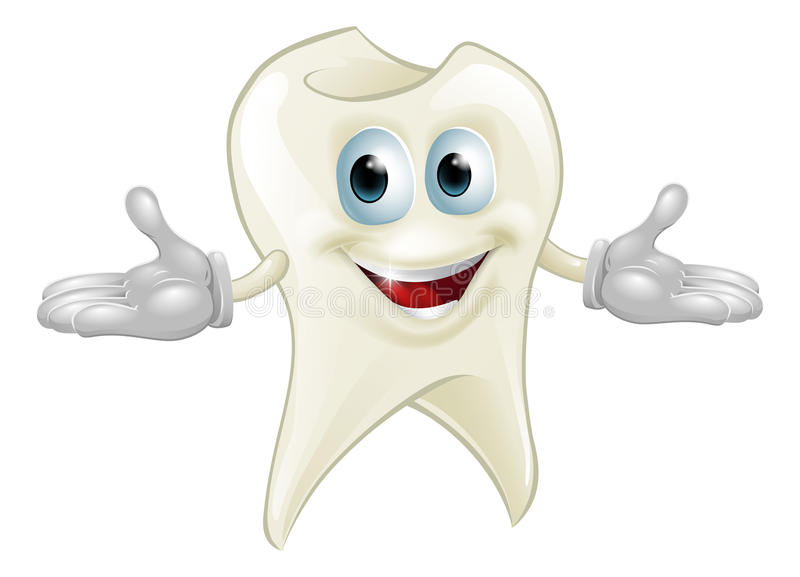 Cute tooth dental mascot royalty free illustration