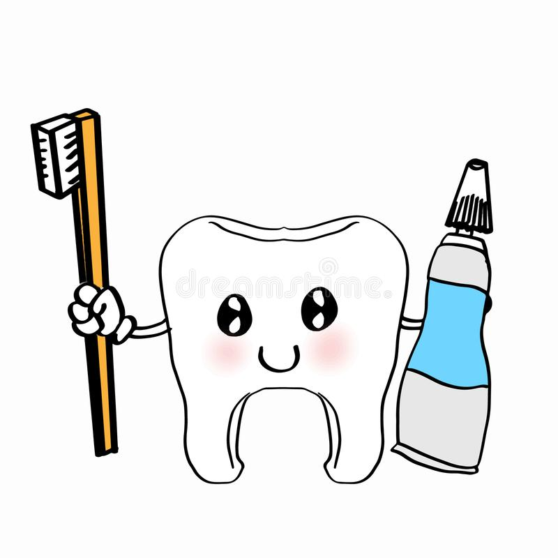 Cute Tooth Illustration Cartoon Drawing Coloring Stock Vector Illustration Of Care Health 100610013