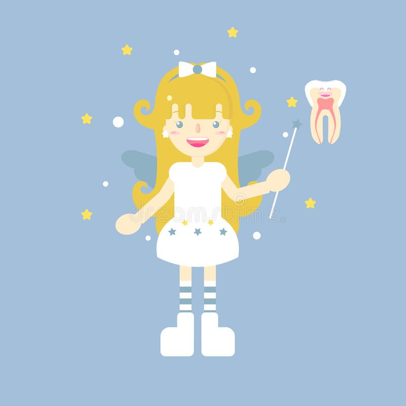 The cute tooth fairy angel royalty free illustration