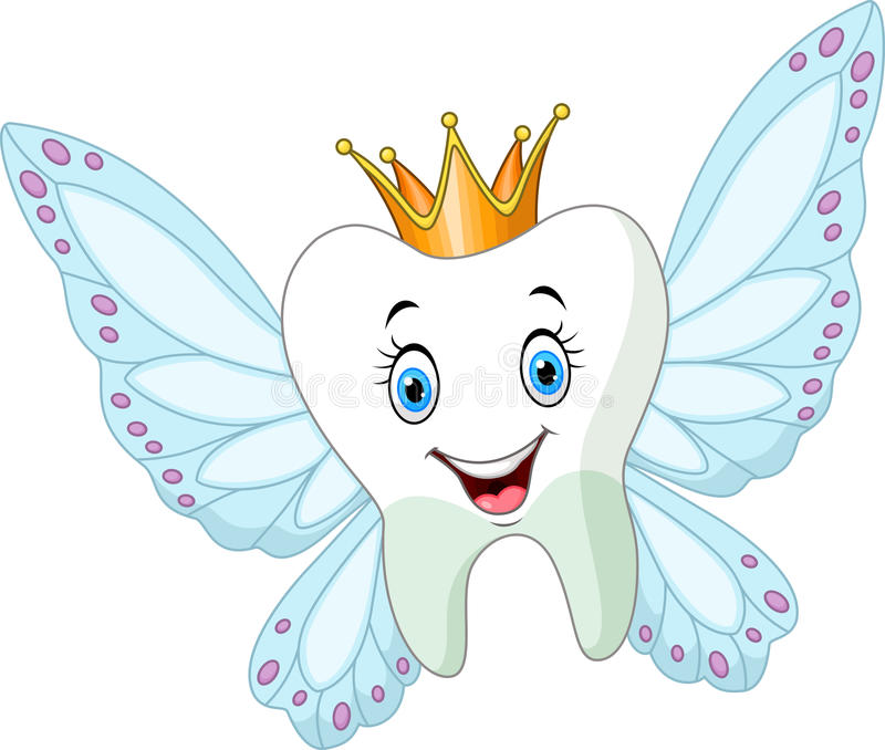 Cute tooth fairy flying vector illustration