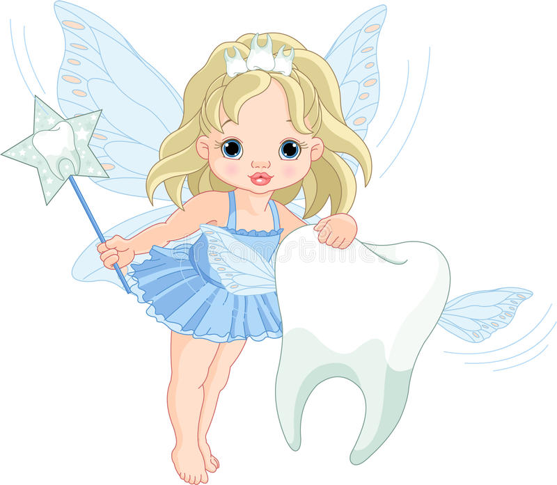 Cute Tooth Fairy flying with Tooth stock illustration