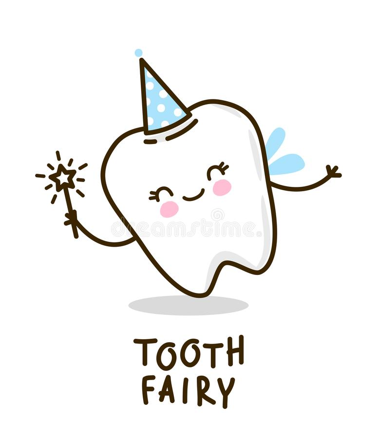 Free Cute Tooth Fairy On White Royalty Free Stock Photography - 124659667
