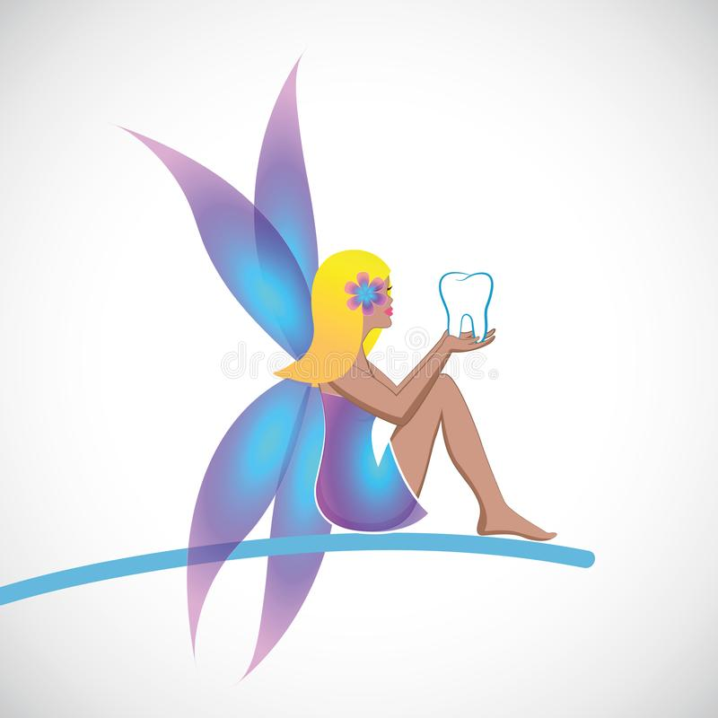 Cute tooth fairy sitting with tooth in her hands stock illustration