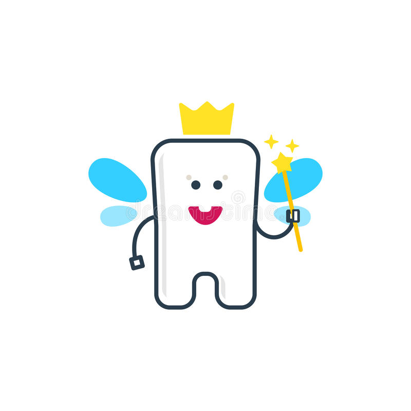 Cute tooth fairy with wings royalty free illustration