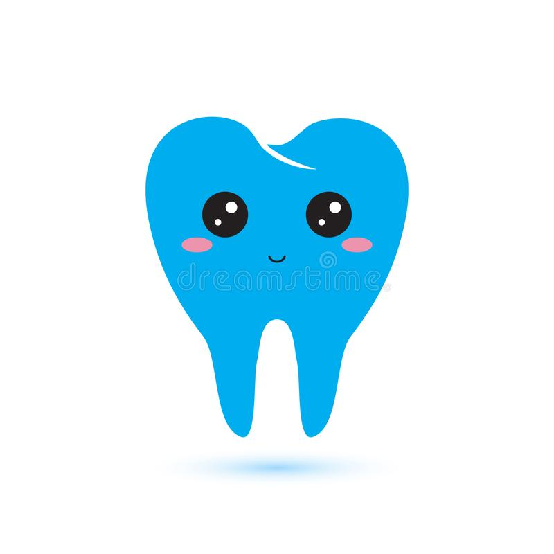 Cute tooth icon in kawaii japan flat style. vector illustration