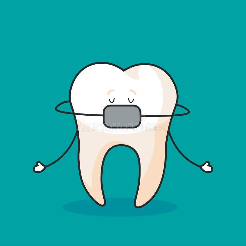 Cute tooth with teeth clip, cartoon character, oral dental hygiene, vector. vector illustration