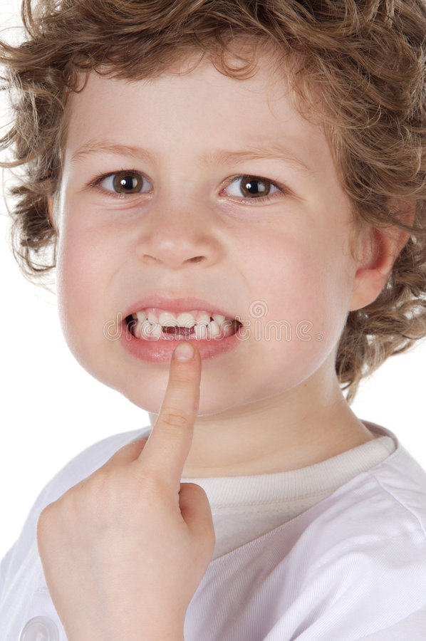 Download Cute toothless boy stock photo. Image of finger, concept - 3503384