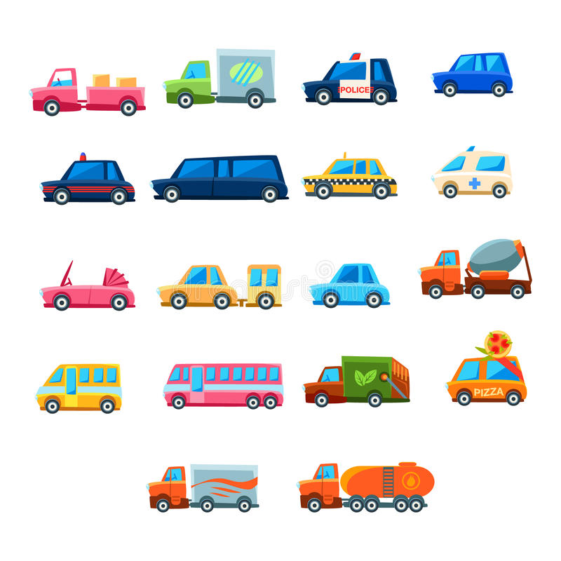 Cute Toy Car Set Of Icons. Cute Toy Car Set Of Colorful Icons. Flat Vector Transport Model Collection Of Simple Illustrations On White Background royalty free illustration