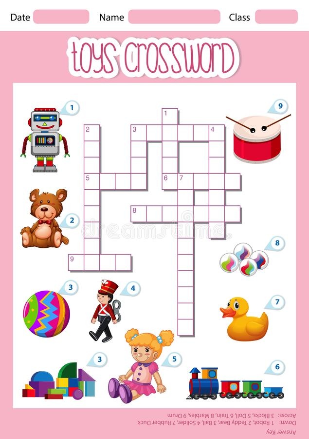 A cute toys crossword template vector illustration