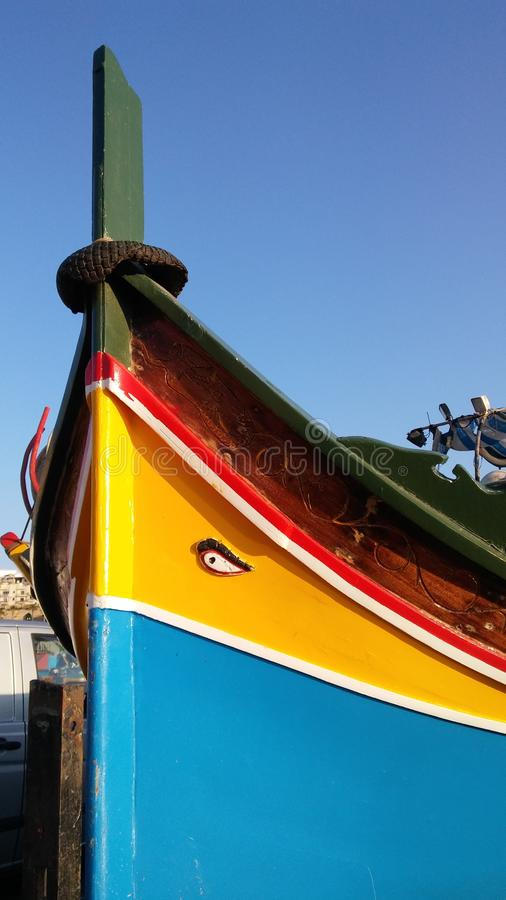 Traditional old fishing boat on Malta Island stock photos