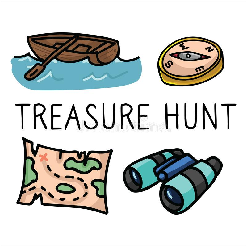 Free Cute Treasure Hunt Cartoon Vector Illustration Motif Set. Hand Drawn Isolated Vintage Map And Binoculars Elements Clipart For Royalty Free Stock Photography - 148967347