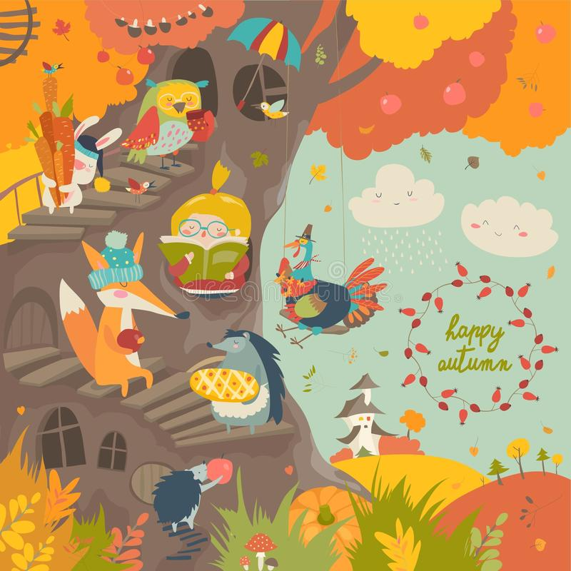 Cute treehouse with little girl and animals in autumn park stock illustration