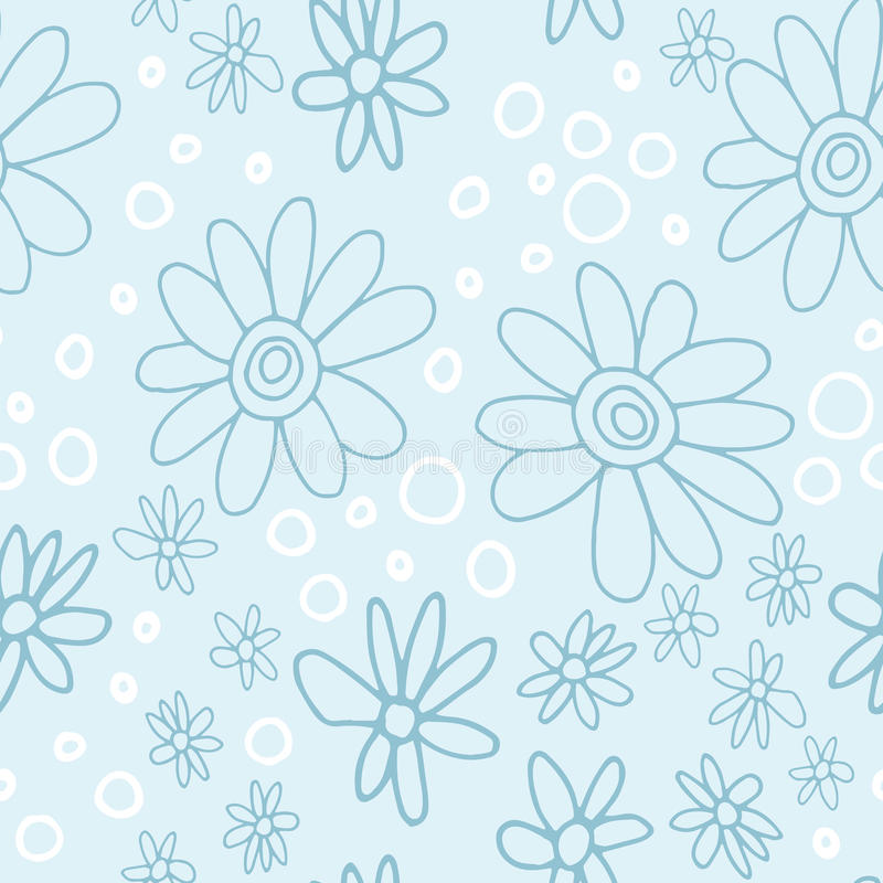 Cute and trendy floral pattern with tulips, poppy flowers and berries royalty free stock photos
