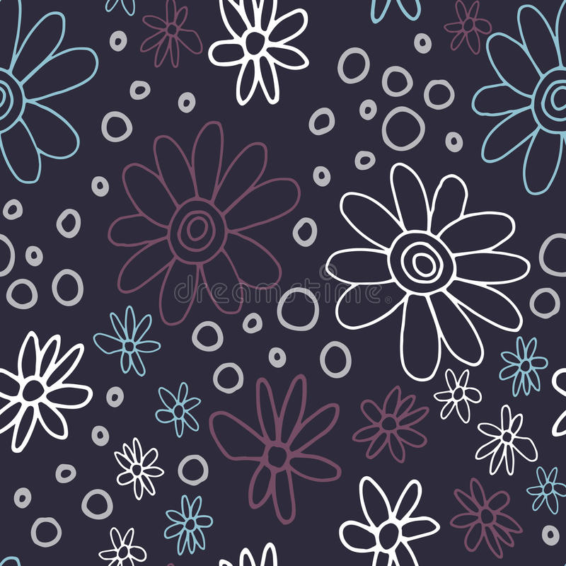 Cute and trendy floral pattern with tulips, poppy flowers and berries stock images