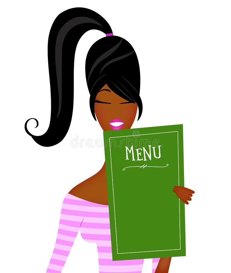 Cute Trendy Young Black Woman Reading a Restaurant Menu Isolated on White stock images