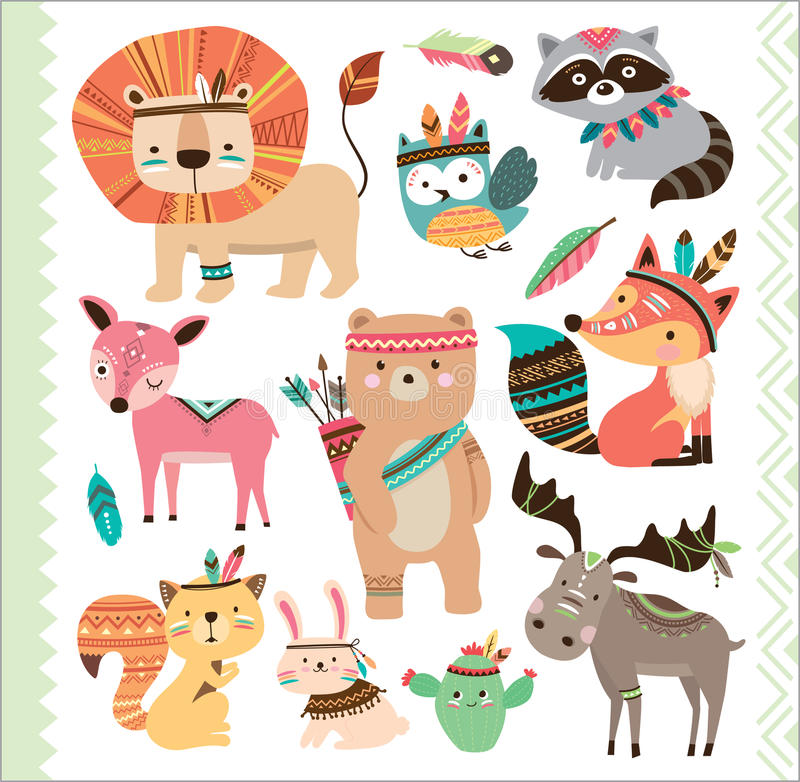 Free Cute Tribal Animals Royalty Free Stock Photo - 74366735
