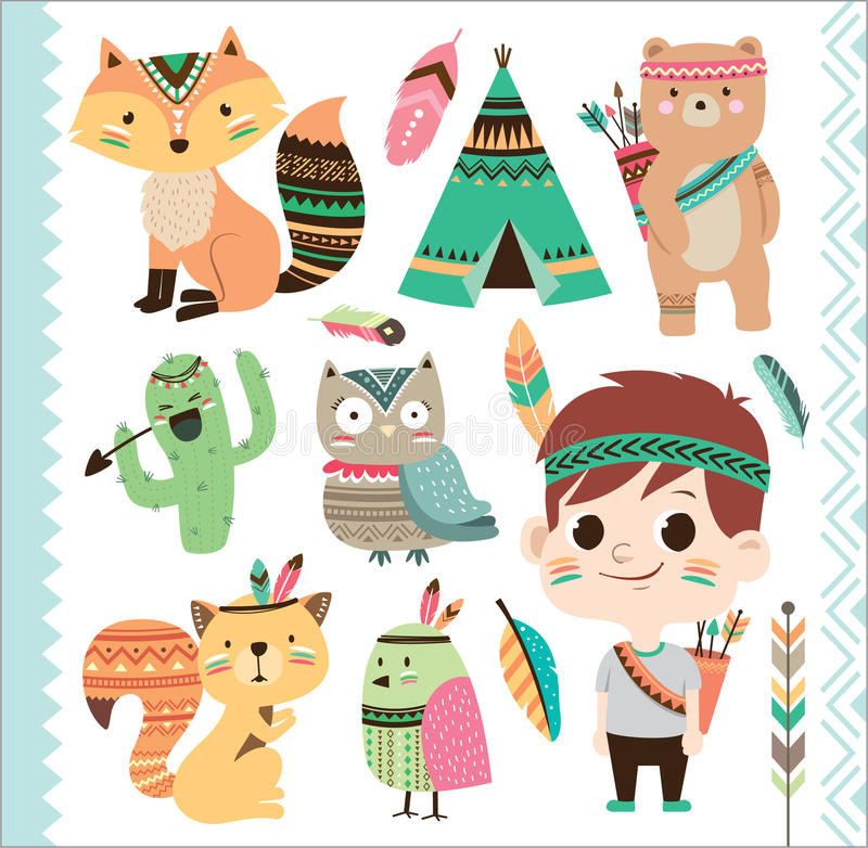 Cute tribal animals and little boy stock illustration