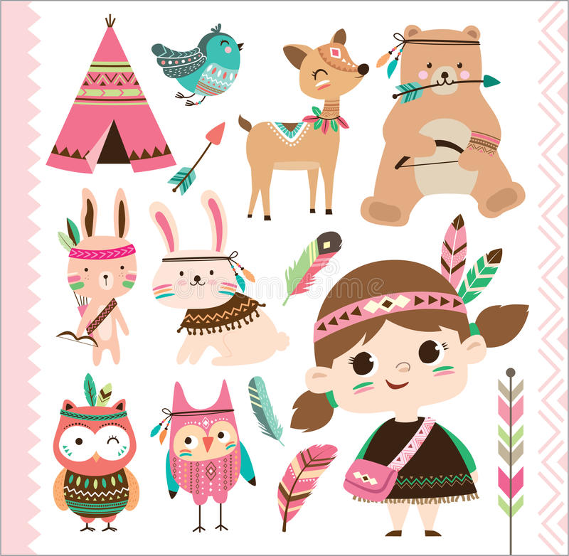 Cute tribal animals and little girl stock illustration
