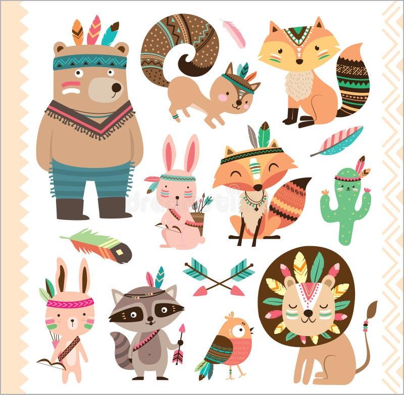 Cute tribal animals. Set of cute tribal animals in cartoon style