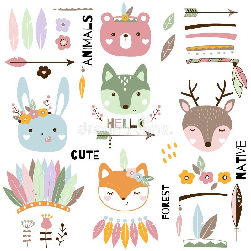 Cute tribal animals set. Wild animal vector illustration vector illustration