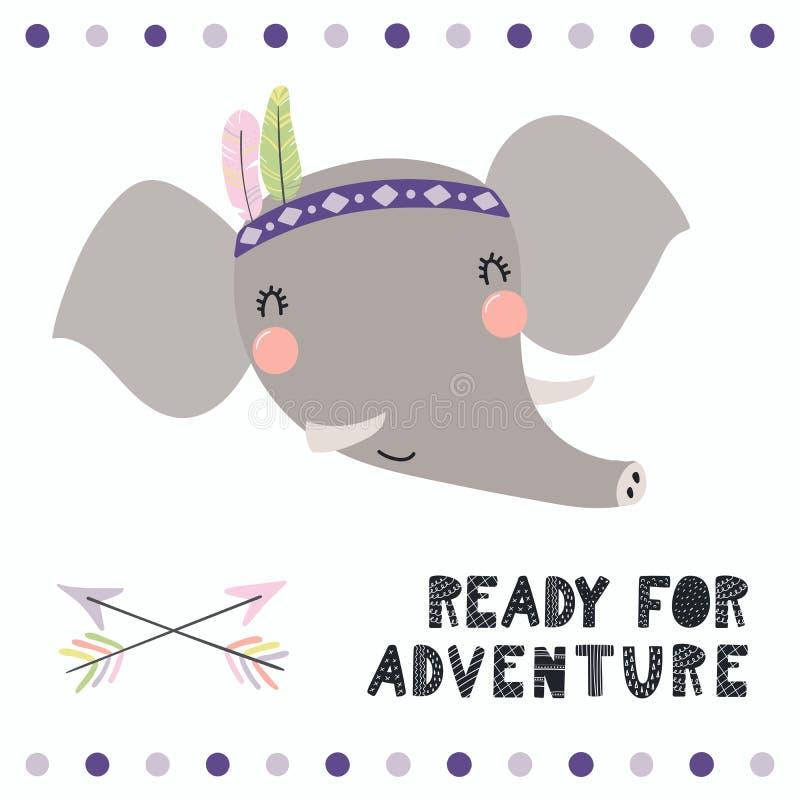 Cute tribal elephant royalty free illustration