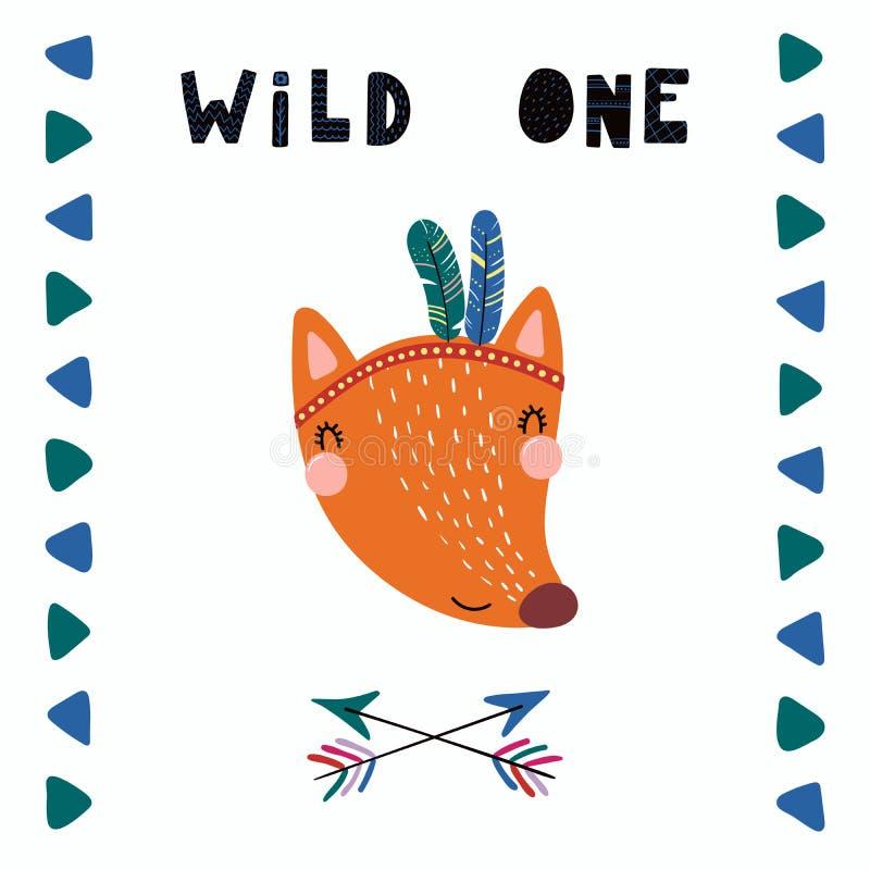 Cute tribal fox vector illustration