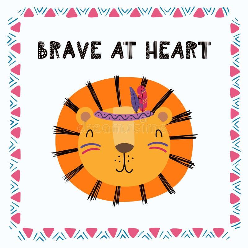 Cute tribal lion stock illustration