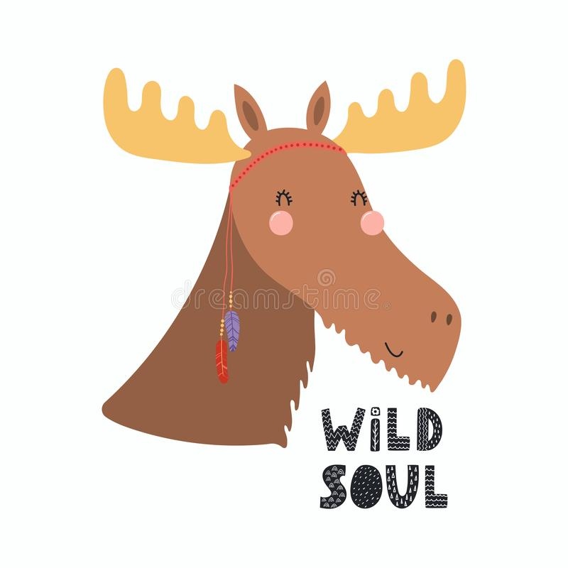 Cute tribal moose royalty free illustration