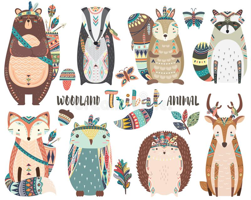 Cute Tribal Woodland Animal Elements royalty free illustration