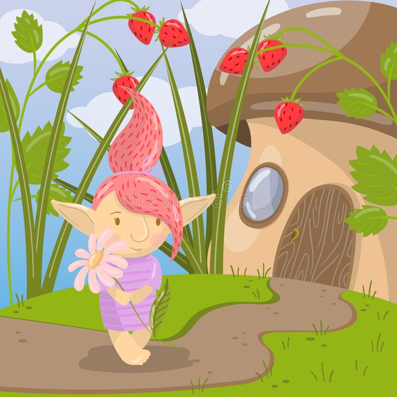 Cute troll girl character with camomile flower standing on the background of fairytale mushroom house vector royalty free illustration