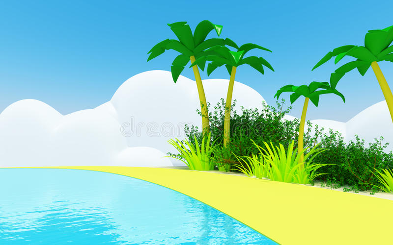 Download Cute tropical coast stock illustration. Image of sand - 25675161