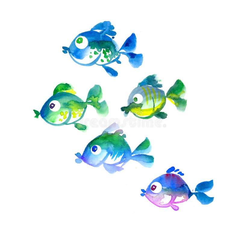 Cute tropical fish hand drawn illustration stock illustration
