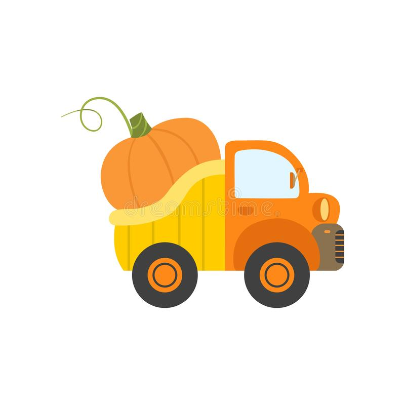 Cute Truck with Giant Pumpkin, Side View, Food Delivery, Shipping of Fresh Garden Vegetables Vector Illustration royalty free illustration