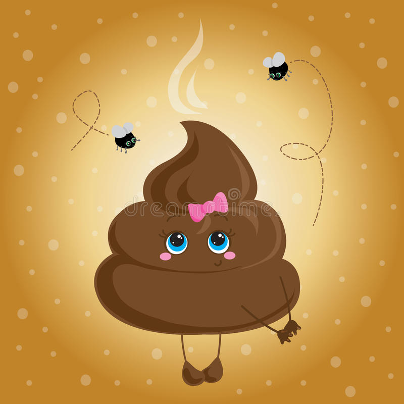 Cute turd with a bow and flies. royalty free illustration