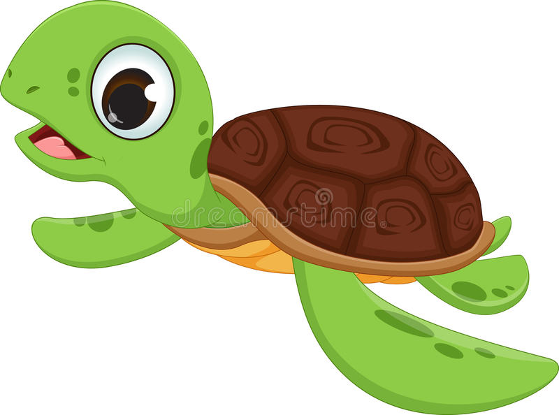 Cute turtle cartoon royalty free illustration