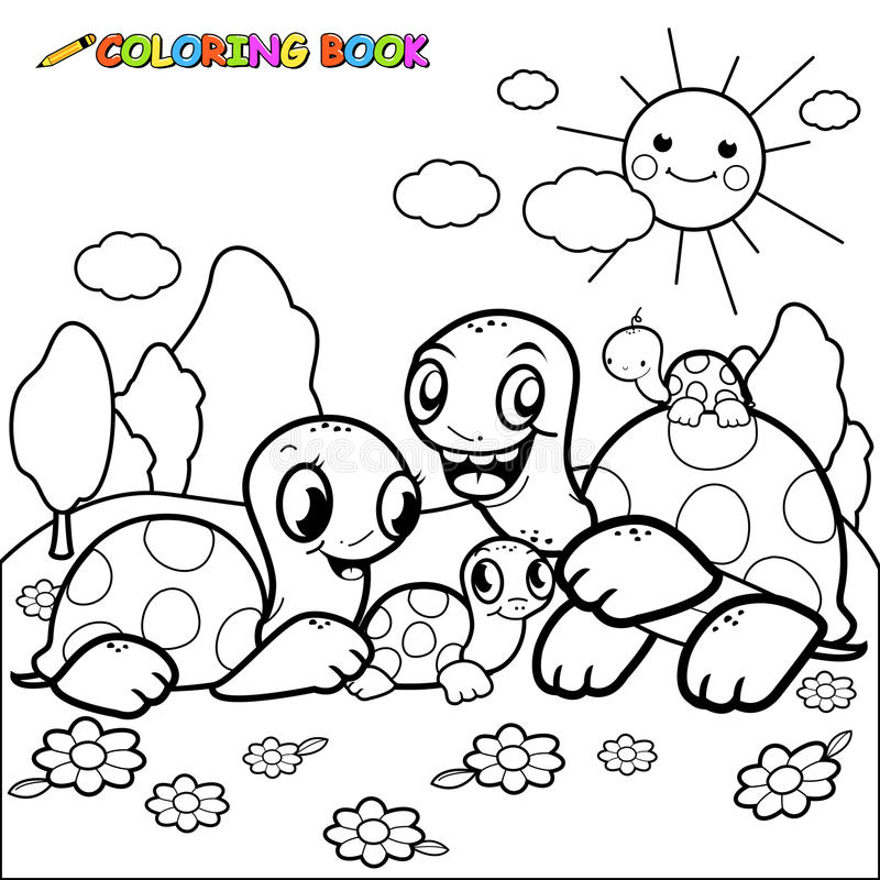 Cute turtle family coloring book page vector illustration