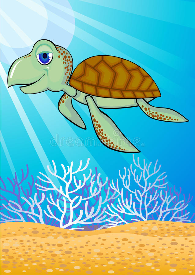 Download Cute turtle in the sea stock vector. Illustration of happy - 13821187