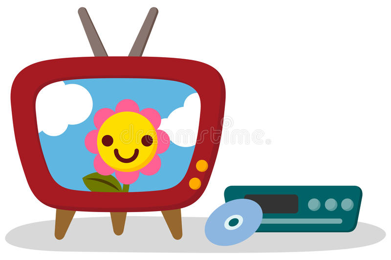 Cute TV and DVD player. Cute flower is reflected in the TV screen stock illustration