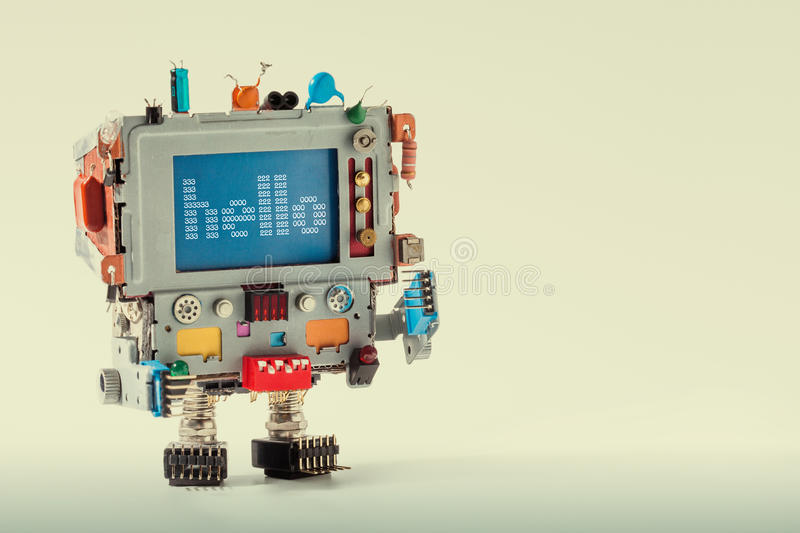 Cute TV robot with funny monitor computer head, electronic parts capacitor. Colorful retro display character message stock photos