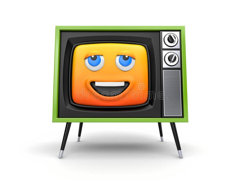 Cute TV with smiley face emoticon with thermometer vector illustration