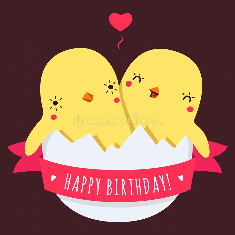 Cute Twins Baby Chickens In Egg Vector Happy Birthday Card Stock